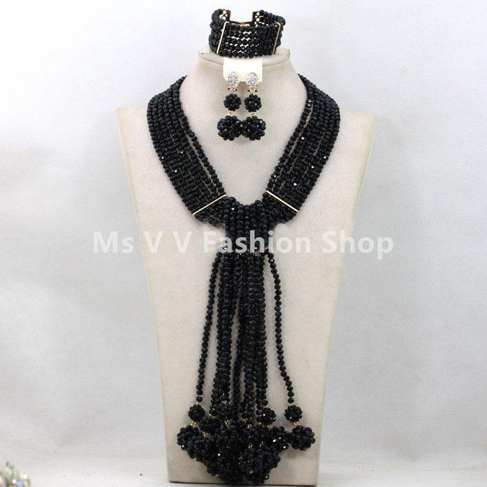 2019 luxury 6 rows black ball Gorgeous Costume African Jewelry Sets Nigerian Beads Wedding Jewelry Set Crystal Jewelry Set