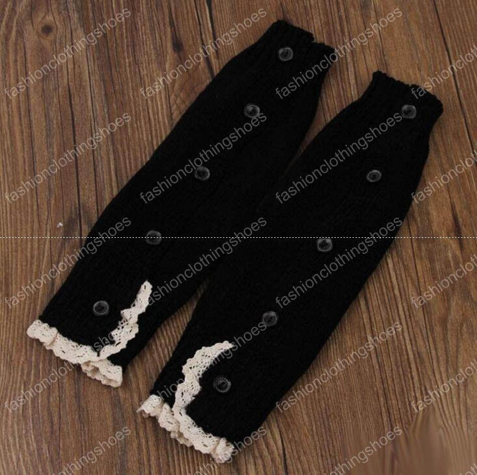 Lace häkeln Boot Manschetten Ballett stricken Beinlinge Baby Knöpfe Trim Boot Manschette Weihnachten Beinwärmer Boot Socken Covers Kniestrümpfe