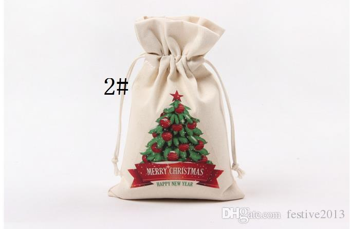 9styles Christmas Gift Bag Wholesale canvas cotton elk Santa Claus Drawstring Bag Personalized Delivery Gifts Santa Sack bag 16*23.5cm