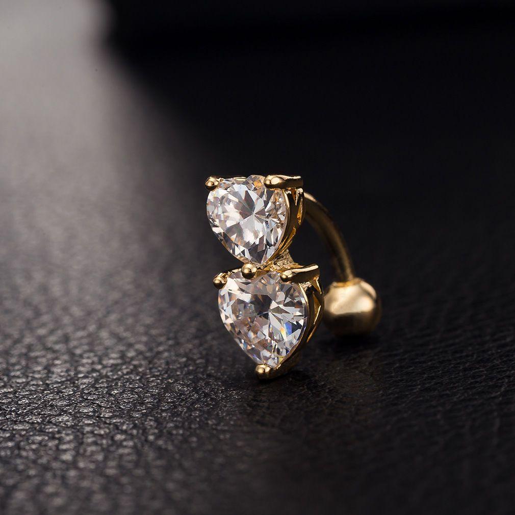 6 ألوان عكسي كريستال بار البطن خاتم الذهب ثقب الجسم زر سرة اثنين من القلب الجسم بيرس المجوهرات