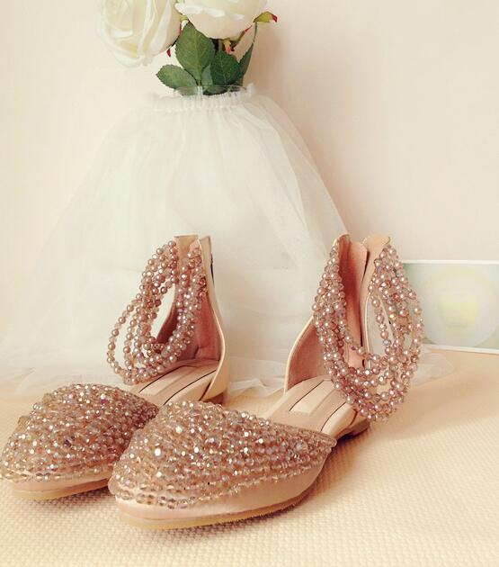 Handmade Champagne Beaded Chain Crystal Flat Wedding Shoes
