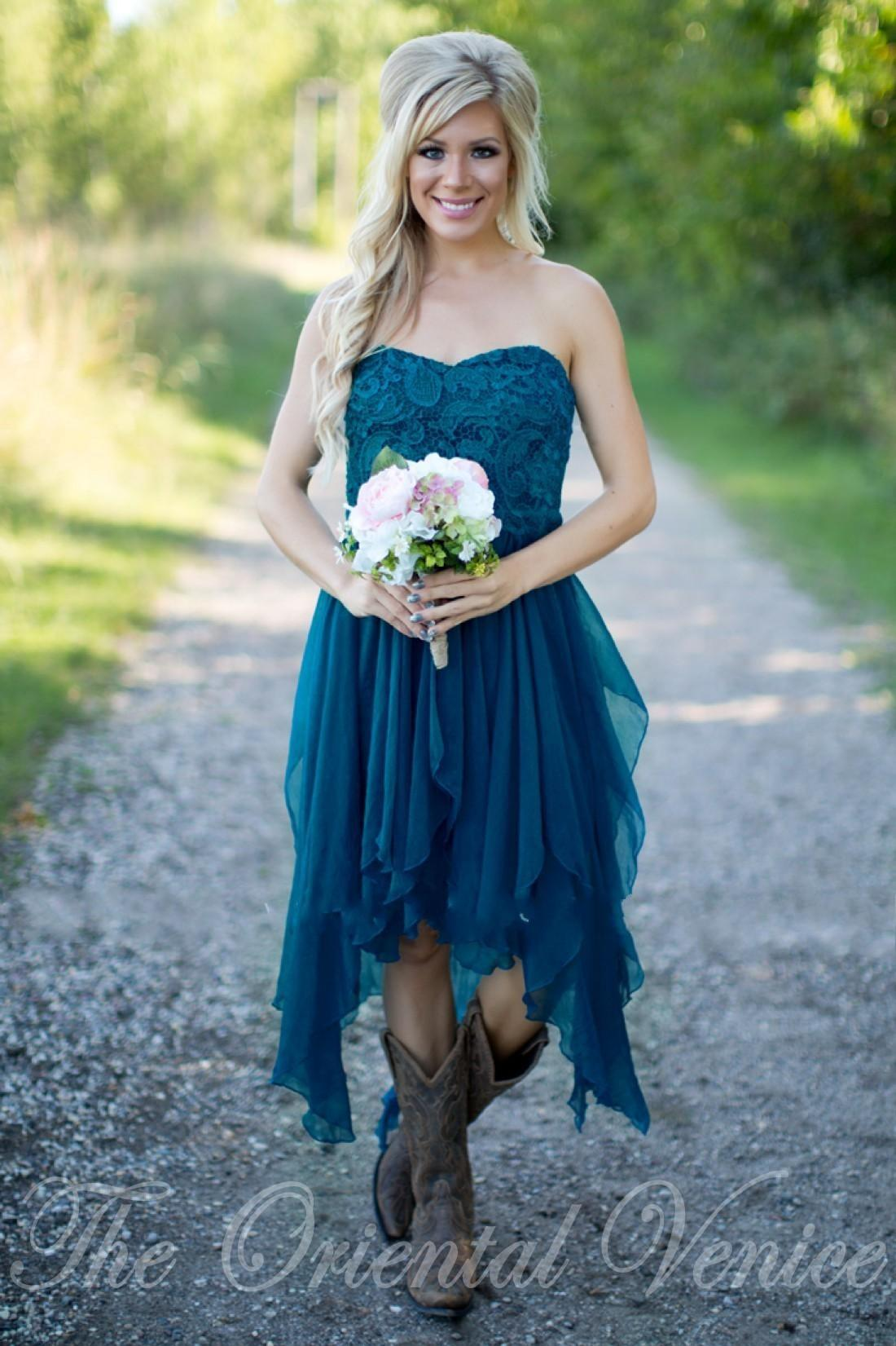 Country Short Bridesmaid Dresses 2017 Cheap Teal Chiffon Summer Beach Lace Appliques High Low Wedding Party Gowns With