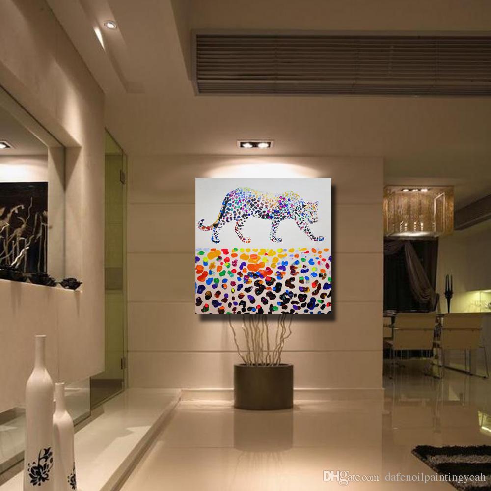 Leopard Gemälde auf Leinwand Wohnkultur Wohnzimmer Wandbilder handgemachte Ölgemälde Home Wall Art Bilder No framed