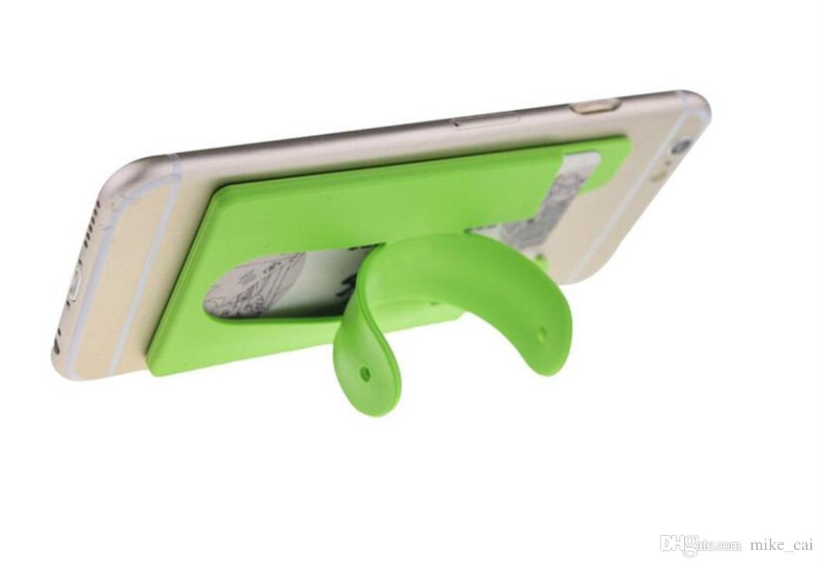 Mélanger la couleur Portable 2 en 1 Universel One Touch Silicone Stand Titulaire Autocollant Pour iPhone Samsung Mobile Téléphone avec carte slot libre