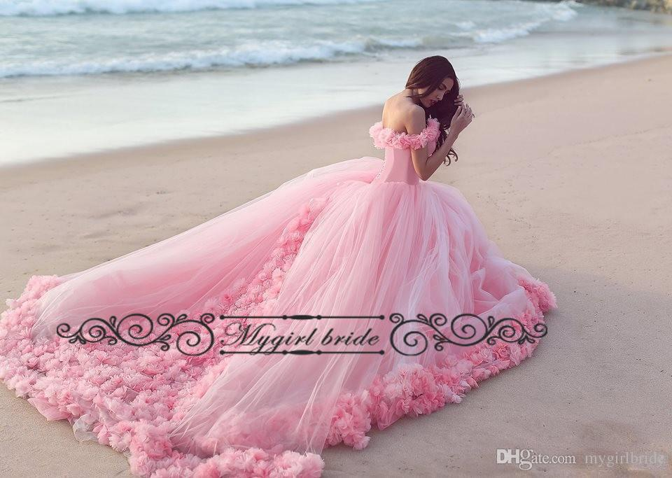 15 Anos Dresses Pink: Long Train Pink Quinceanera Dresses 2017 Sweet 16 Dress
