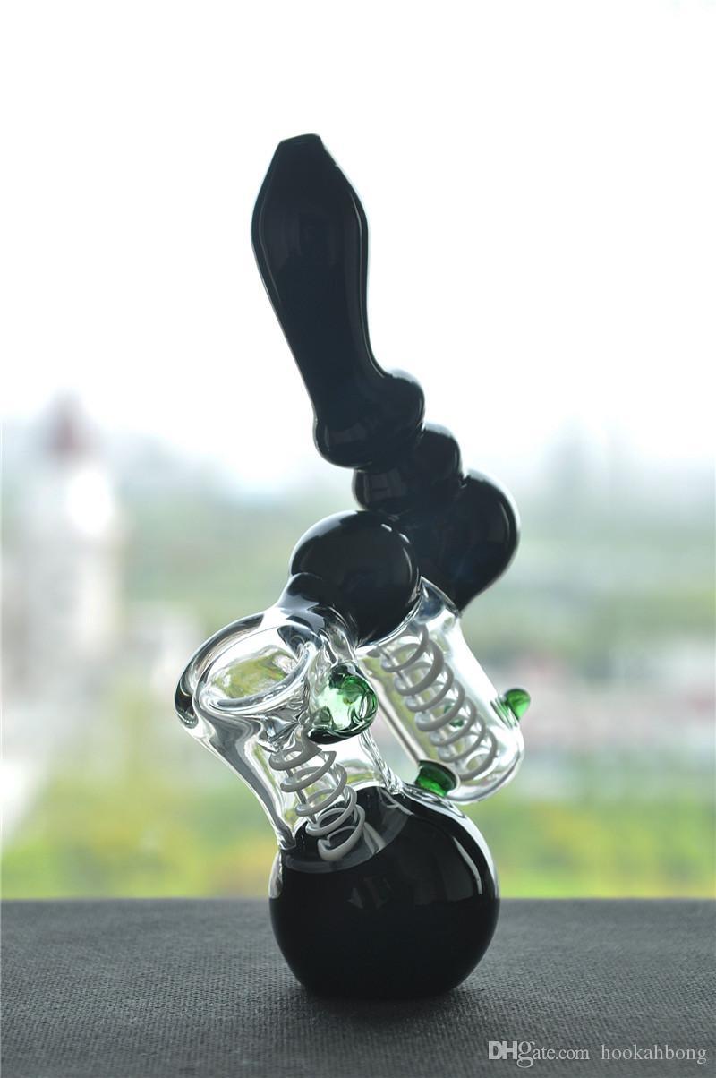 MINI black bong bubber water pipe ART oil rigs narghilè in vetro molto robusto 18 CM HEIIGHT