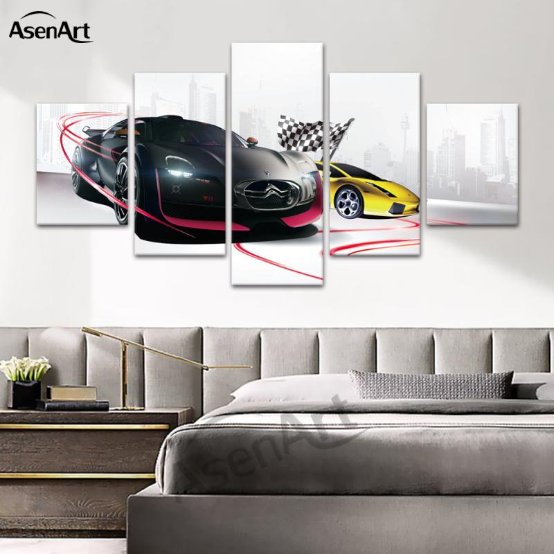 Canvas Prints 5 Panel Black Cool Sports Car Wall Art Hanging Painting for Home Bedroom Decoration Ready to Hang Dropshipping
