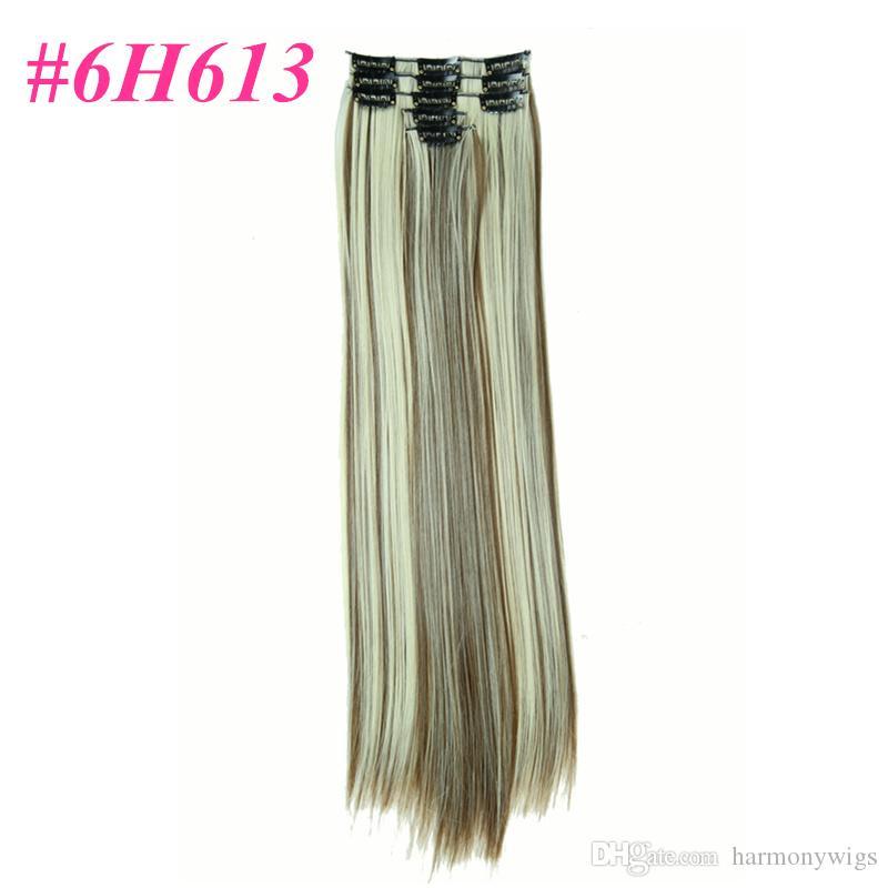 / set Clip synthétique dans les extensions de cheveux Cheveux raides 22 pouces 130g M H couleur Clip sur les extensions de cheveux D1020