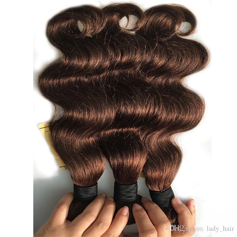 Natural Brown Human Hair Weave Body Wave #4 Dark Brown Mink Brazilian Human Hair Bundles Chocolate Brown Body Wave Hair Wefts