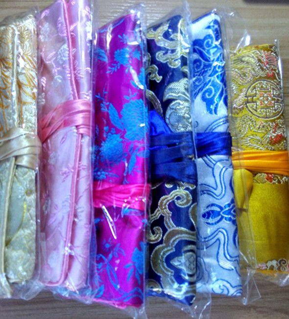 Ładny Kwiatowy Jedwab Brokuade Biżuteria Roll Travel Case Kobiety Sznurek Torba Makeup Duży Luksusowy Kosmetyczny Torba do przechowywania Pokrowiec 30 sztuk / partia