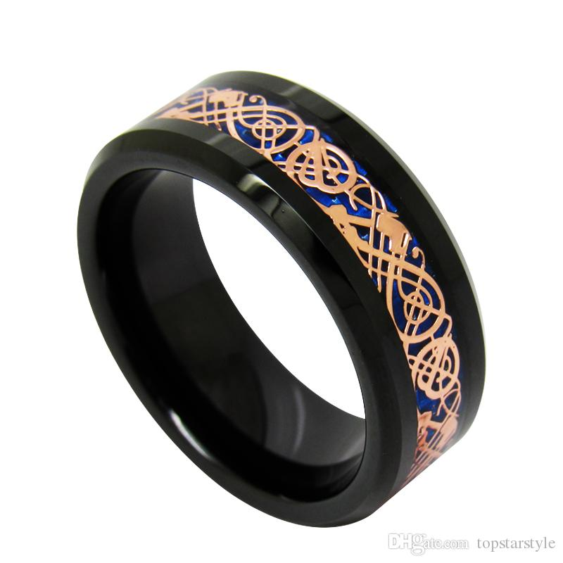 8mm Blue Background Rose Gold Dragon Inlay Tungsten Carbide Ring