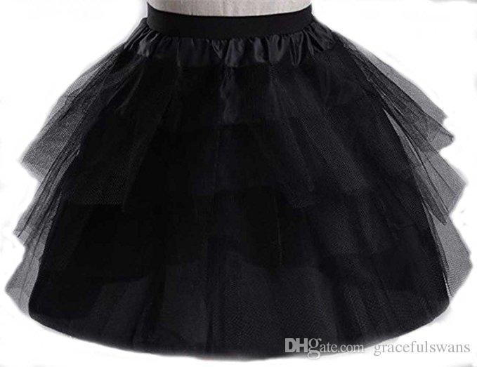White /Black /Red Short Girls's Petticoat Three Layers Tulle Elastic Waist Kid's Accessories Underwear Hoopless Petticoat Rockabilly