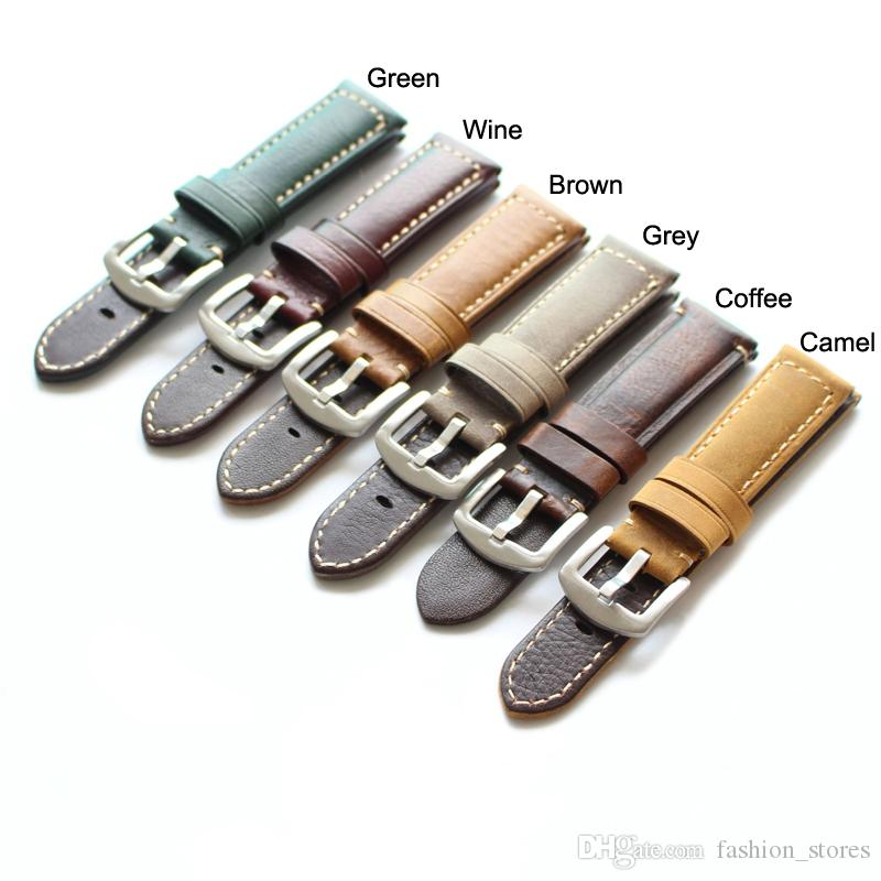 22mm 20mm Stitch Genuine Leather Bands Watch Strap With Steel Buckle Green Wine Brown Grey Coffee