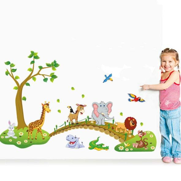 Cute Forest Animal Cartoon Wall Stickers Children 's Room Kindergarten Decorative Wall Stickers Size: 60cm by 90cm, Color: Multicolor