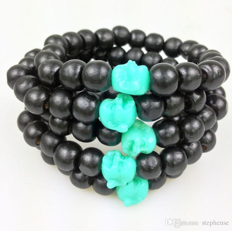 SN0148 10mm Black Round Wood Bead Bracelet cheap Men Buddha Bracelet Stretch Beaded Bracelets Green Buddha Beads