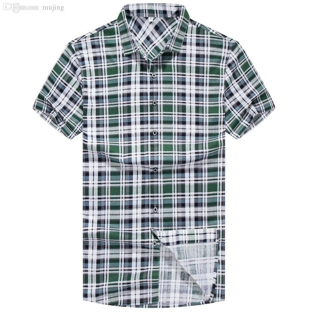 ffd54789ab3 2019 Wholesale 2016 New Brand Men Designer Plaid Shirt Short Sleeve Turn  Down Collar Casual Mercerized Cotton Shirts Tops Summer Fashion From  Mujing