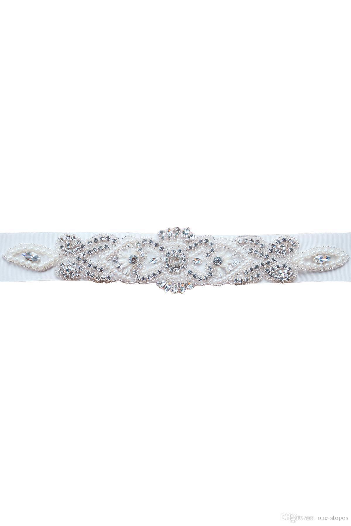 الكريستال حزام الزفاف حجر الراين مطرز بيرل فستان الزفاف الزنانير حزام الأبيض البيج جودة عالية رخيصة أنيقة حزام الزفاف شاح