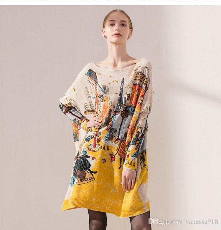 9baf4661d68214 2019 Winter Women Sweater Knit Designer Sweaters And Pullovers Girls  Pullover Knitted Top Tops Wool Blend Thick Cartoon Print HX39 From  Vanessa918