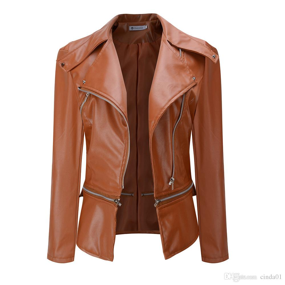 New Cool Women Leather Jacket Rivet Zipper Motorcycle Jacket Turn Down Collar chaquetas mujer Argyle pattern Leather Coats