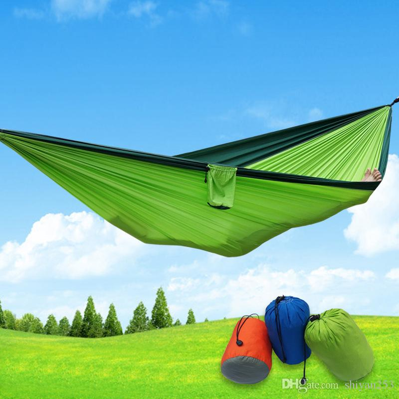 Newest Portable Fabric Double Hammock Parachute Nylon Durable Double Person Assorted Color For Indoor Outdoor Use Multi-color