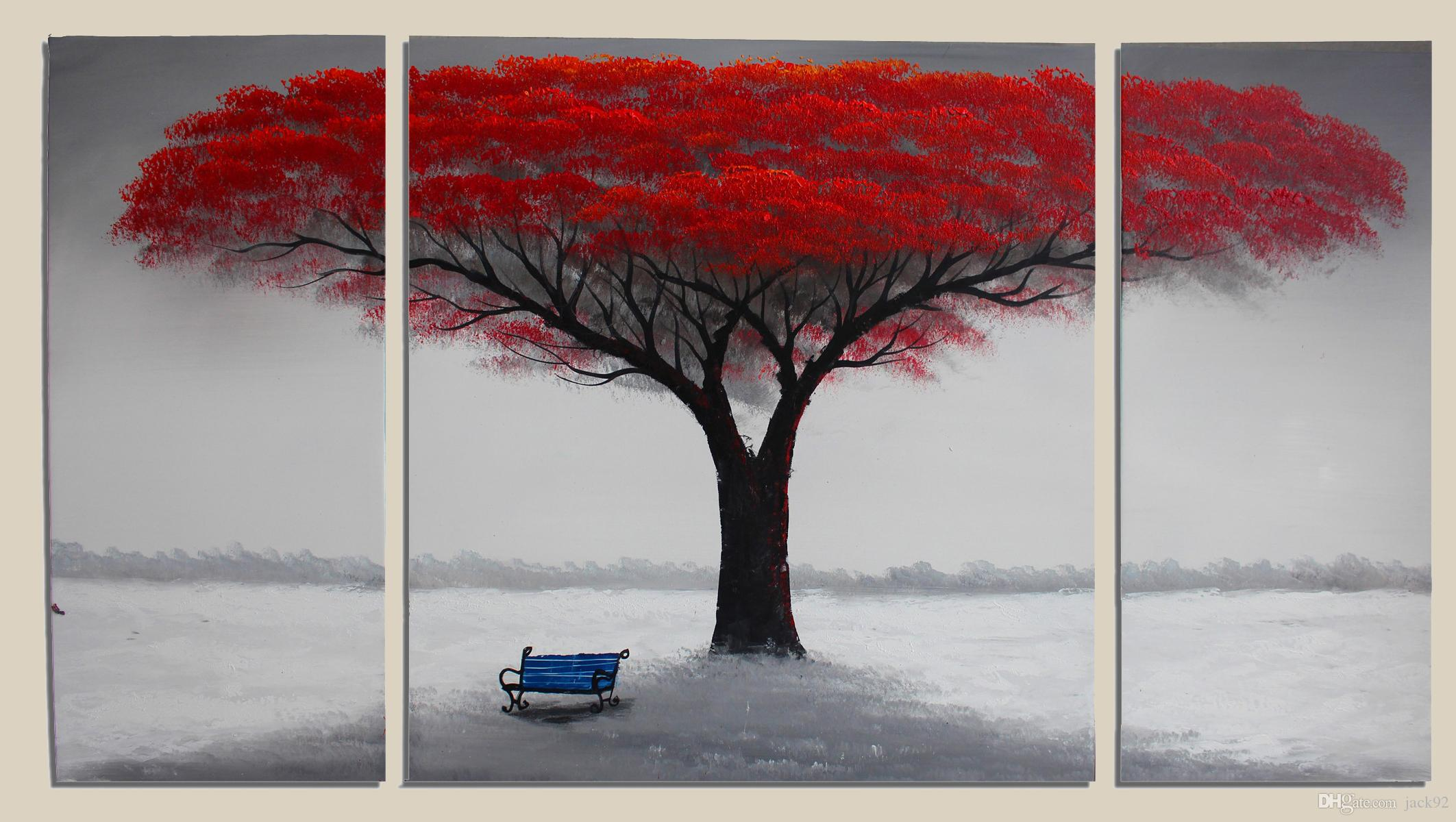 2018 Canvas Art Handpainted Red Tree Painting Large Wall