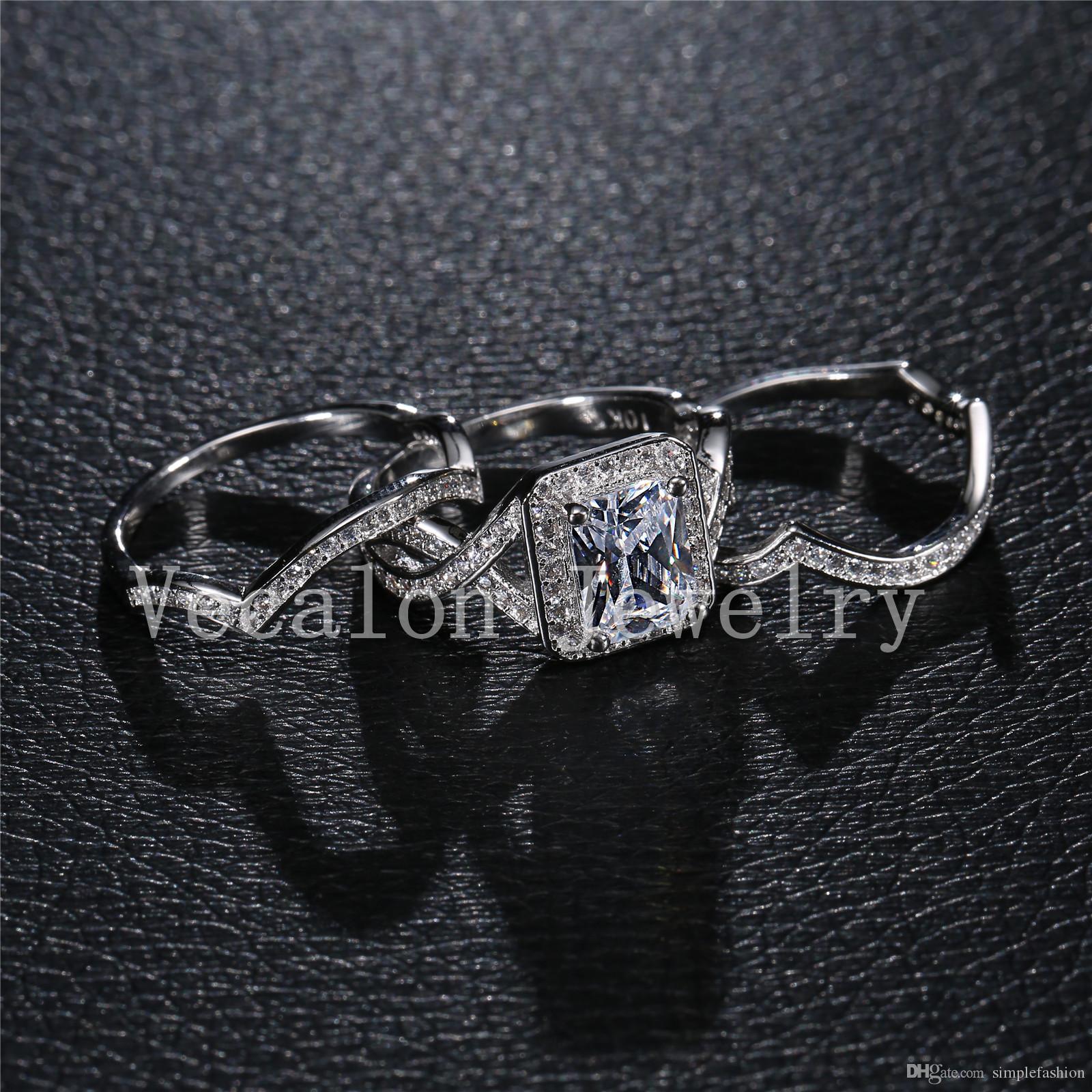 Vecalon Princess cut 4ct diamante simulato cz 3-in-1 Fidanzamento Fede nuziale Anello Set le donne 10KT Anello bianco oro Riempito