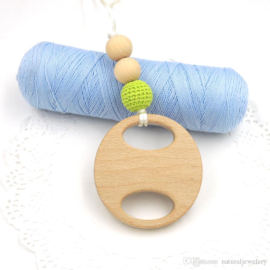 Mama Nursing Necklace mommy jewelry Lemon green crochet beads big beech wooden teether round pad rattle EN47
