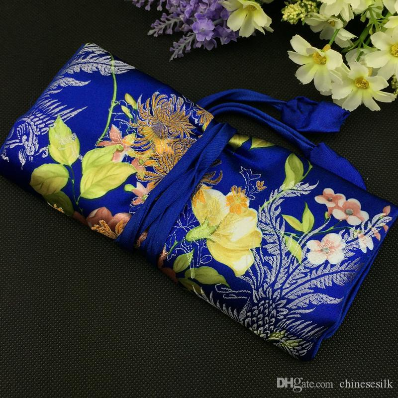 Large Pretty Flower Foldable Jewelry Roll Up Travel Bag Cosmetic Makeup Storage Bag Drawstring Chinese Silk Brocade Pouch Bag