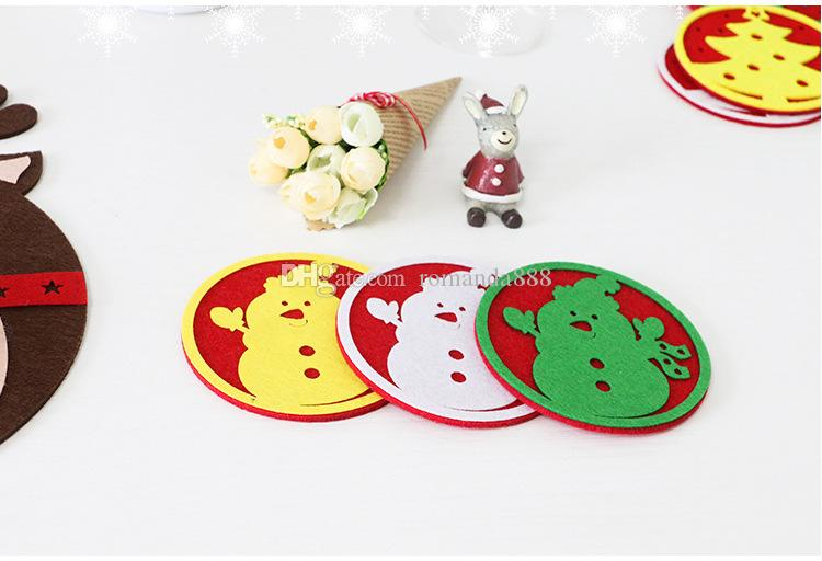 DHL New Creative Christmas Decoration Coffee Table Cup Mat New Water Coaster Insulation Pad Coaster Doily