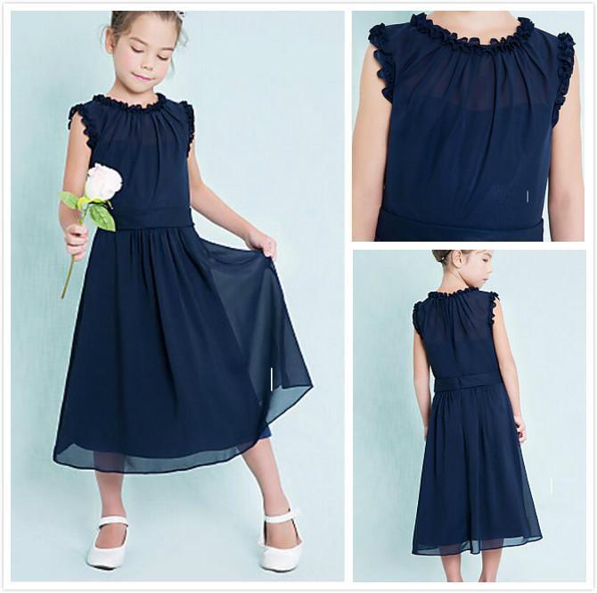 Dark Navy Junior Bridesmaid Dresses Cheap Column Jewel Sleeveless A-Line Ruffles Zipper Back 2016 Flower Girl Dresses for Wedding