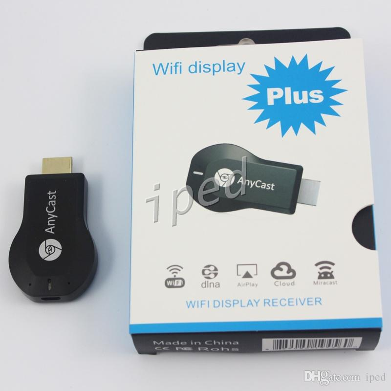New Anycast m2 mais DLNA Airplay WiFi exibição Miracast Dongle HDMI Multidisplay 1080P Receiver AirMirror Mini TV Android vara grátis DHL 30