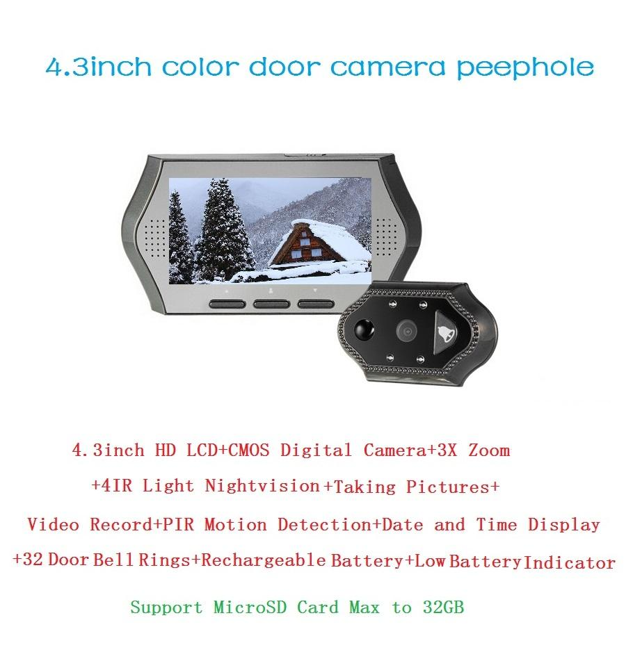 4.3inch olho magico 0.3 Megapixels door camera IR night vision PIR Motion Detection 32 Rings 3X Zoom electronic eye Max 32G