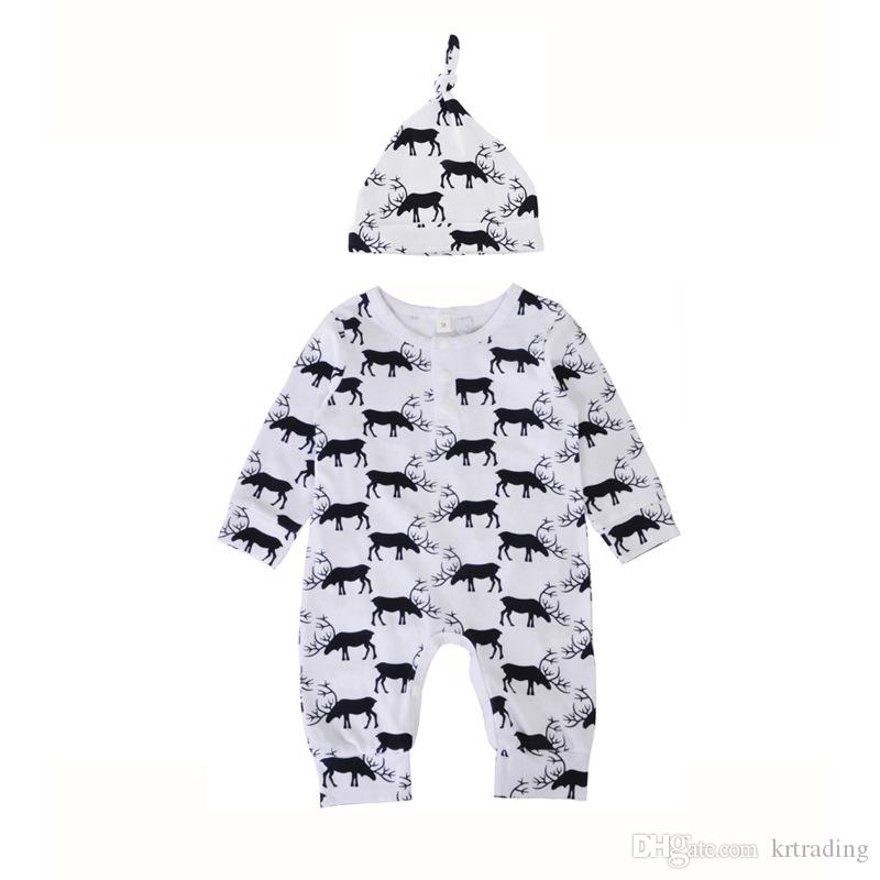 Baby deer printing onesie set hat+long sleeve romper infants cute elk pattern romper outfits for 0-1T