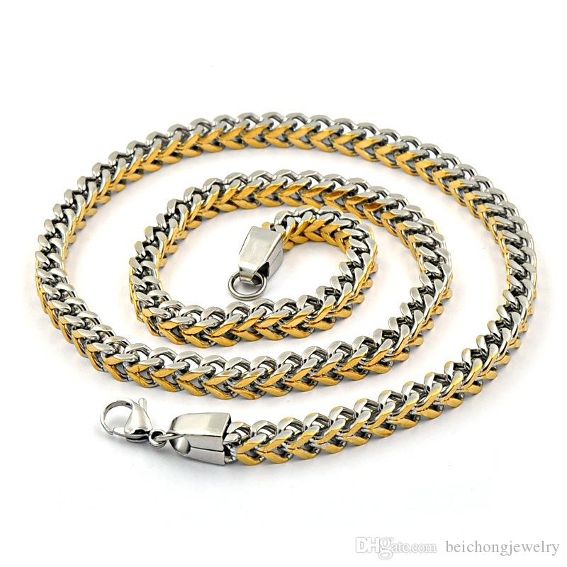 Beichong Mens Necklace Stainless Steel 8mm width Chain Gold Silver Black Tone Vintage Punk Wholesale Necklace