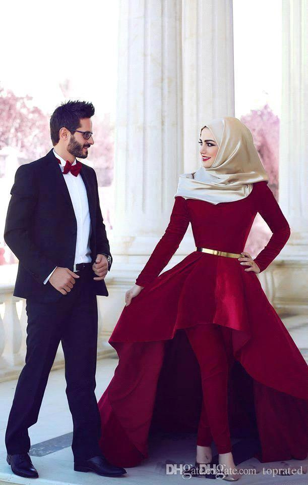 2016 Red Carpet Dresses Arabia Said Mhamad High Neck Hi Lo Velvet Long Sleeves Ball Gown Evening Gowns Pants Prom Dress New Collection