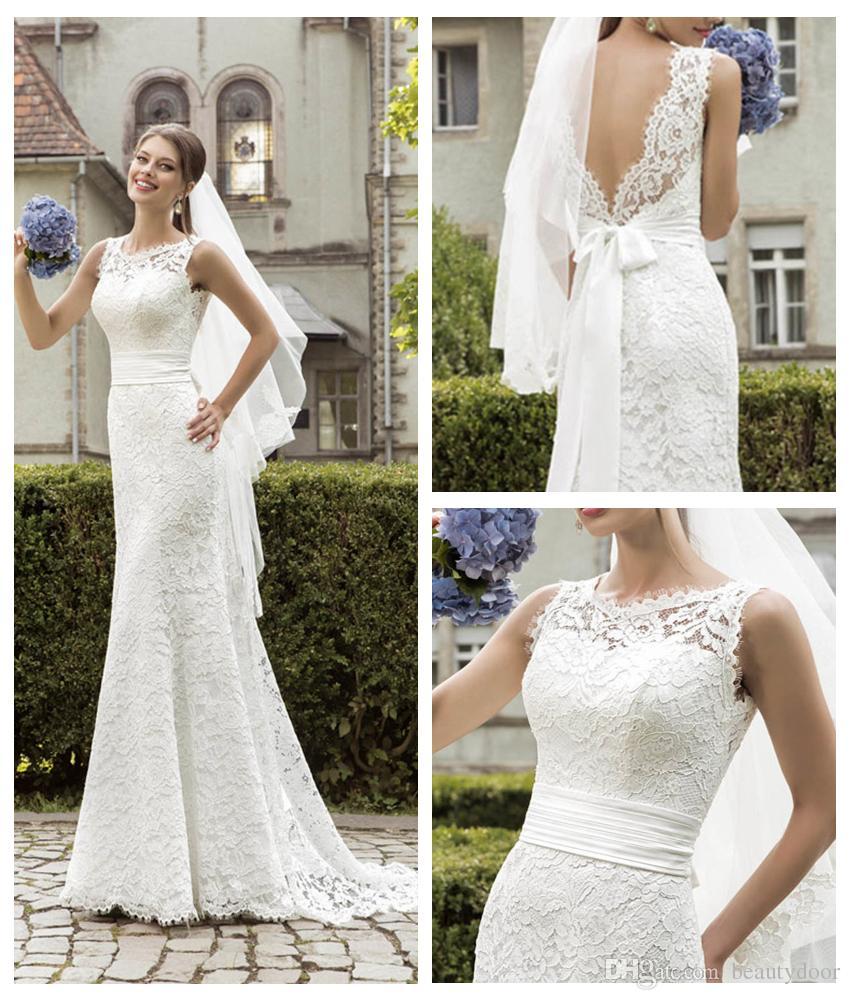 Vintage Chantilly Lace Wedding Dresses Mermaid Style Dress 2016 ...