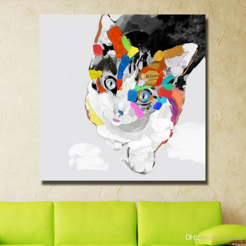 Hand painted newest high quality lovely cat oil painting cartoon animal wall pictures abstract canvas art