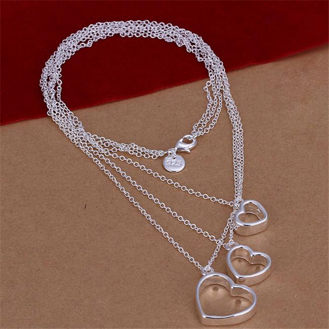 Hot sale Three-wire three heart necklace sterling silver plate necklace STSN038,fashion 925 silver necklace factory sale christmas gift