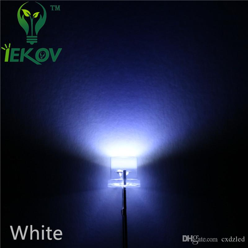 10000pcs/lot 5MM Flat Top White led Wide Angle 5mm Ultra Bright LEDs light Emitting Diodes Electronic Components Hot Sale Wholesale