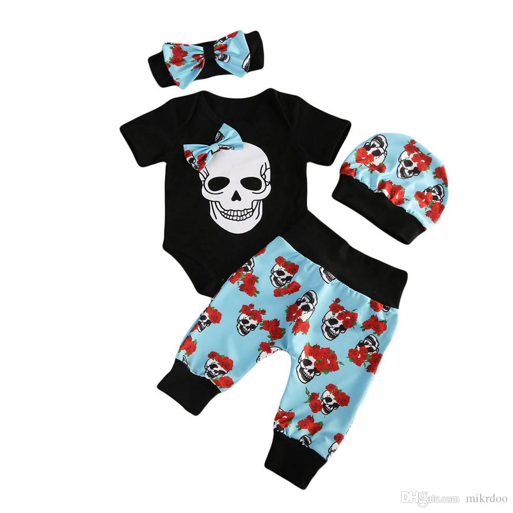 Mikrdoo Halloween Newborn Clothes Infant Baby Boy Short Sleeve Skull Romper Floral Long Pants Hat Headband Outfit 4pcs Set Cotton Cool Suits