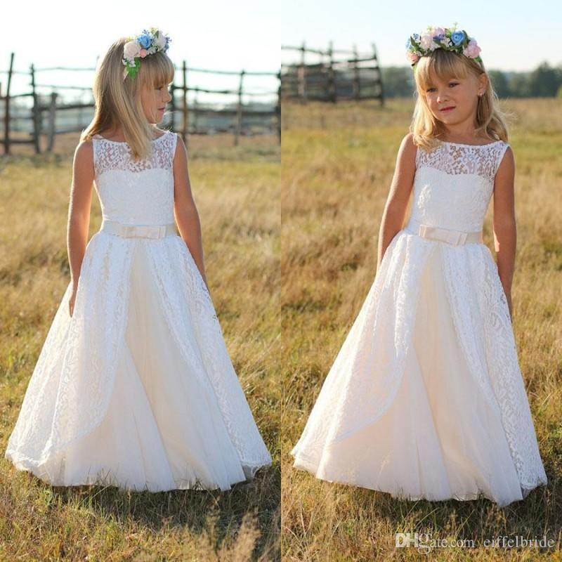 97c93545c8 Fall 2017 Country Boho Flower Girl Dress Bateau Neck A Line Floor Length  Front Split Lace And Tulle Girls Dresses For Wedding Little Girls  Bridesmaid ...