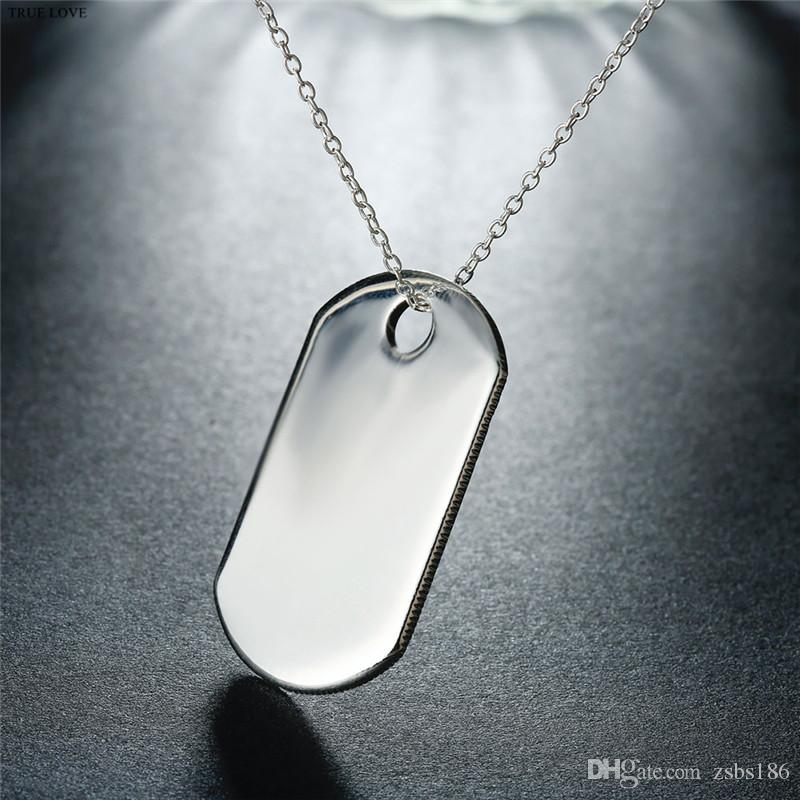 Fashion Tag Necklace 925 Silver Jewelry Pendant for boys Cool Christmas Gifts Top Quality