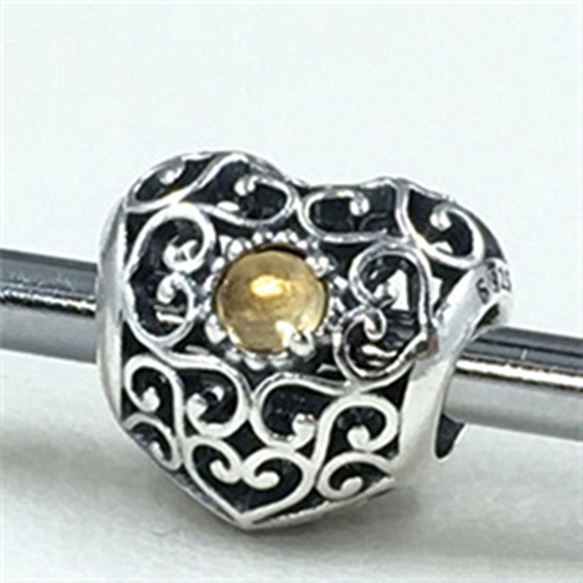 S925 Sterling Silver November Signature Heart Charm Bead con Citrine Se adapta a las pulseras europeas de Pandora Jewelry Collares