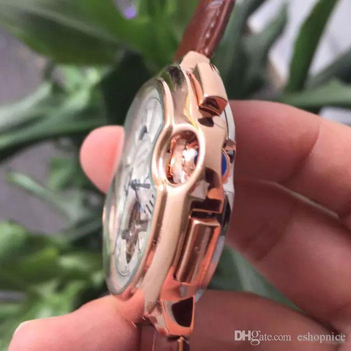 Yüksek Kaliteli moda erkek erkek hediye rejoles için tüm alt kadranları çalışma hareketi izle Moon Phase Daydate mekanik otomatik wristwatche saatler