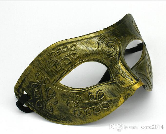 Costume Party Mask Men's retro Greco-Roman Gladiator masquerade masks Vintage Golden/Silver Mask silver Carnival Mask Halloween