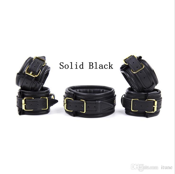 High Quality soft Leather with sponge inside Collar Anklet ... set for Wrist Ankle Leg Restraints Adult Sex Toys BDSM Bondage