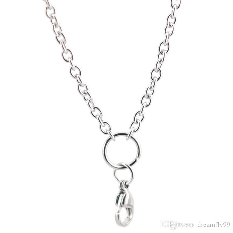 "Fashion Chain 0.8mm 3mm Width 24"" 30'' Stainless Steel flat cable Necklace Chain For memory living Glass Locket & oil Diffuser Locket"