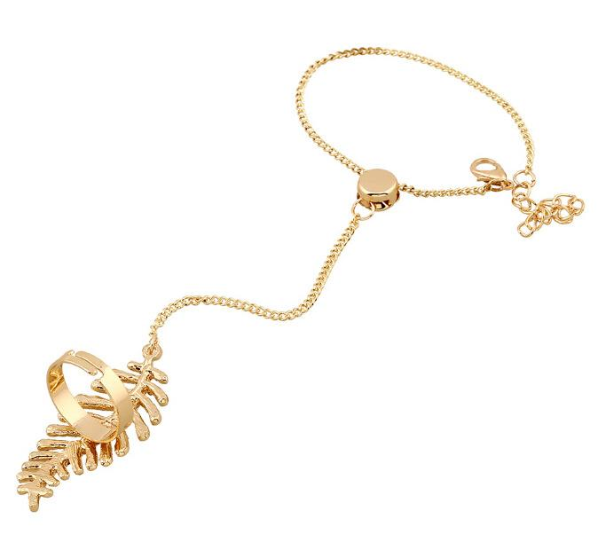 Charm Bracelet Women Hollow Finger Ring Bangle Slave Vintage diamond Chain Gold Bracelet