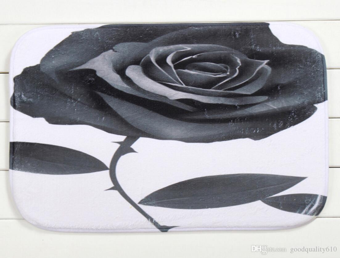 40 * 60cm fiore della Rosa del bagno tappeti antiscivolo Tappeti corallo del panno morbido tappeto Bagno Camera Zerbino online