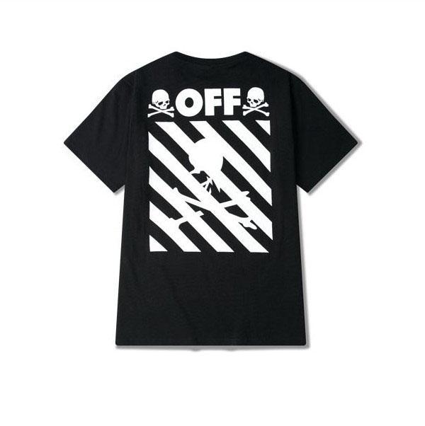 b1c58b957e72 2016 Summer New Off White Skull T-shirt Mens Stripe Short Sleeve O ...